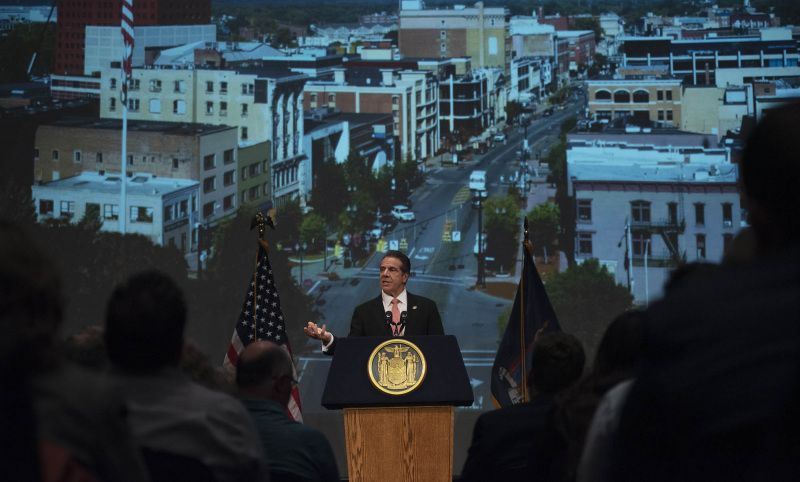 New York Governor Andrew Cuomo announces the awarding of $10 million to Schenectady through the Downtown Revitalization Initiative (DRI) in the GE Theatre at Proctors Tuesday, November 5, 2019. Photo credit: Kate Penn - Proctors