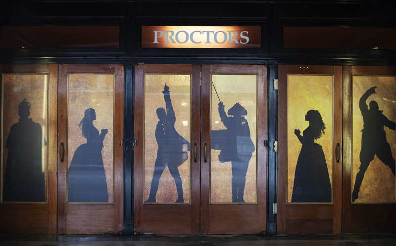 Hamilton signs cover Proctors on opening night of the tour's run at Proctors in Schenectadu Tuesday, August 13, 2019.