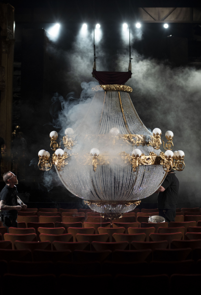 The chandelier for The Phantom of the Opera is adjusted before the show at Proctors Thursday, April 25, 2019.