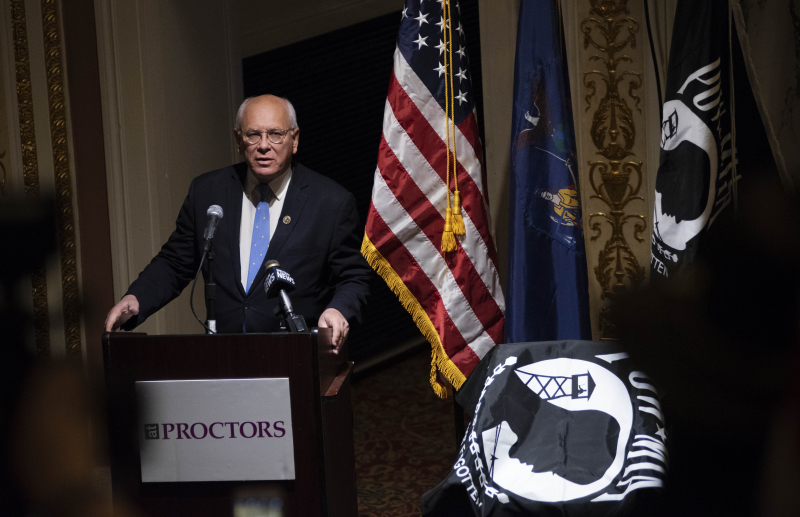 Congressman Paul Tonko speaks during the dedication of a POW/MIA Chair of Honor in Schenectady Tuesday, November 6, 2018. The chair, placed in the balcony of the theatre, will remain empty to honor American service members and recognize their sacrifice.