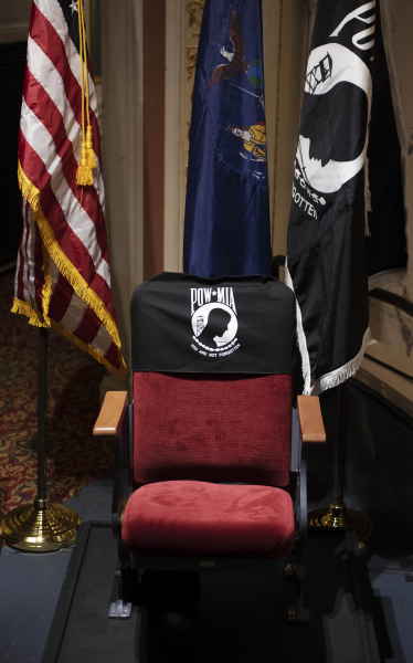 The newly dedicated POW/MIA Chair of Honor in Schenectady Tuesday, November 6, 2018. The chair, placed in the balcony of the theatre, will remain empty to honor American service members and recognize their sacrifice.