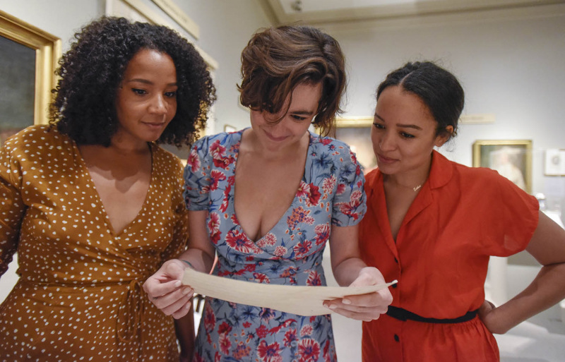 Actors from left Stephanie Umoh, Hannah Cruz, Olivia Puckett react to seeing a letter written to Elizabeth Schuyler from Alexander Hamilton at the Albany Institute of History and Art in Albany Friday, August 16, 2019. Olivia Puckett plays Peggy Schuyler, Hannah Cruz plays Eliza Schuyler and Stephanie Umoh plays Angelica Schuyler in the touring production of Hamilton playing Proctors through August 25, 2019.