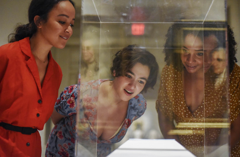 From left Olivia Puckett, Hannah Cruz and Stephanie Umoh look at Alexander Hamilton and Elizabeth Schuyler's wedding rings on display at the Albany Institute of History and Art in Albany Friday, August 16, 2019. Olivia Puckett plays Peggy Schuyler, Hannah Cruz plays Eliza Schuyler and Stephanie Umoh plays Angelica Schuyler in the touring production of Hamilton playing Proctors through August 25, 2019.