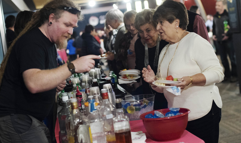 The stagehand bar, serving up mixed drinks, beer, wine and Jello shots, it's always a favorite during the annual Volunteer Appreciation Night at Proctors Monday, October 29, 2018.