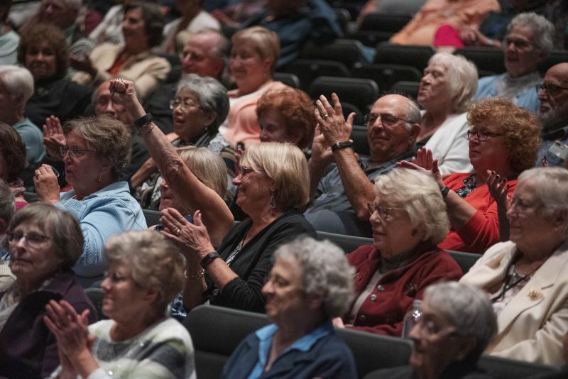 Volunteers cheer during a program celebrating their hard work and dedication during Volunteer Appreciation Night in GE Theatre at Proctors Wednesday, September 18, 2019. Photo credit Kate Penn - Proctors